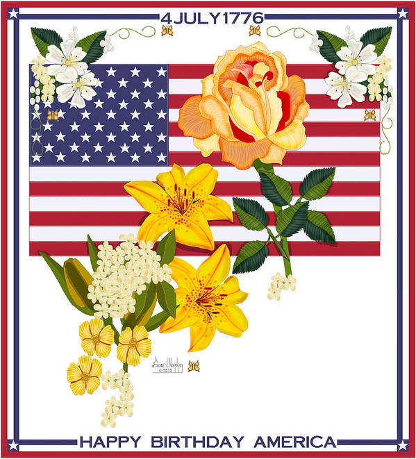 Old Glory Art Print featuring the painting Happy Birthday America 2013 by Anne Norskog