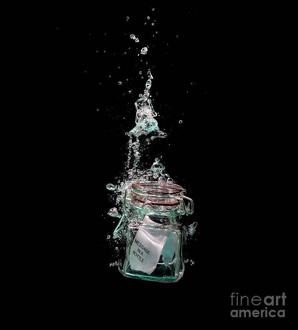 Water Art Print featuring the photograph Message In Sinking Bottle by Simon Bratt Photography LRPS