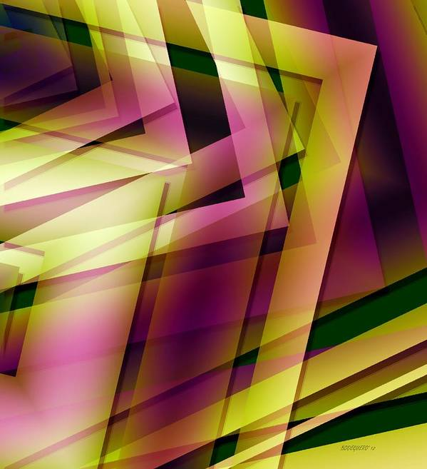 Art Print featuring the digital art Pink Yellow And Green Geometry by Mario Perez