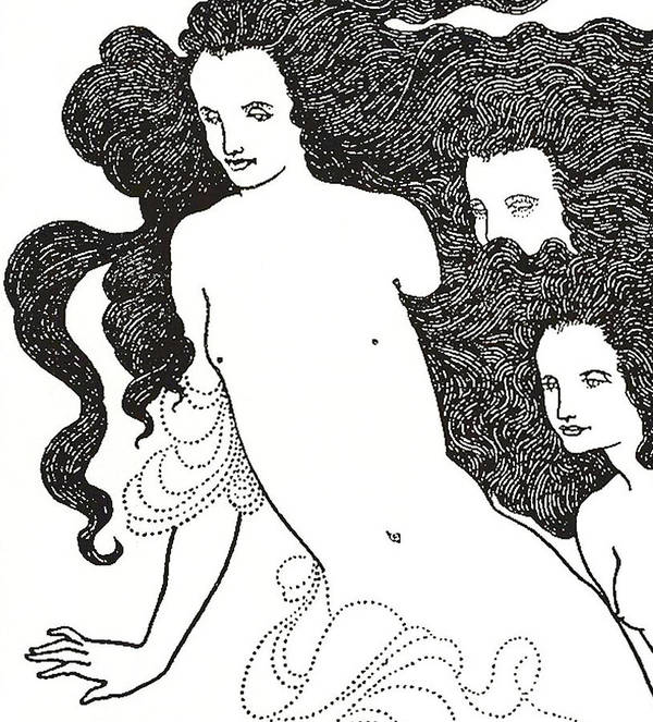 Monochrome; Monochromatic; Black And White; Illustrator; Illustration; Ink; Drawing; Drawings; Black; Aesthetic Movement; Art Nouveau; Poster Style; Style; Stylistic; Dark; Bold; Contrast; Stark; Contrasting; 19th Century; Cover; Design; Rhinegold; Rheingold; Rhine Gold; Opera; Richard Wagner; Long Hair; Hair; Flowing; Locks; Nude; Naked; Wagnerism; Decadence; Decadent; Wagnerite; Wagnerites; Comedy; Opera; Operas; Aubrey Print featuring the drawing The Comedy Of The Rhinegold by Aubrey Beardsley