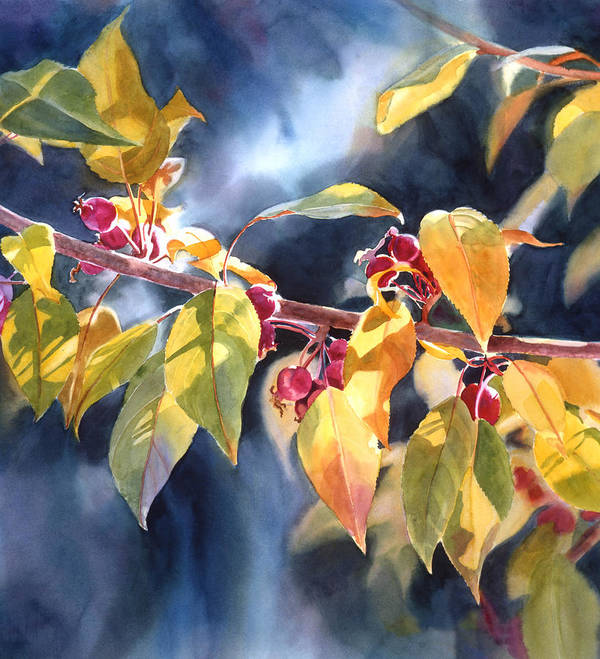 Fall Print featuring the painting Autumn Plums by Sharon Freeman