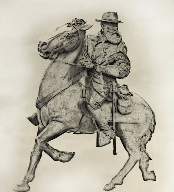General James Longstreet Print featuring the digital art General James Longstreet Statue At Gettysburg by Randy Steele