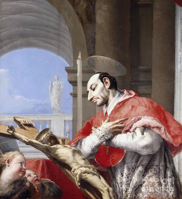 Saint Art Print featuring the painting Saint Charles Borromeo by Giovanni Battista Tiepolo