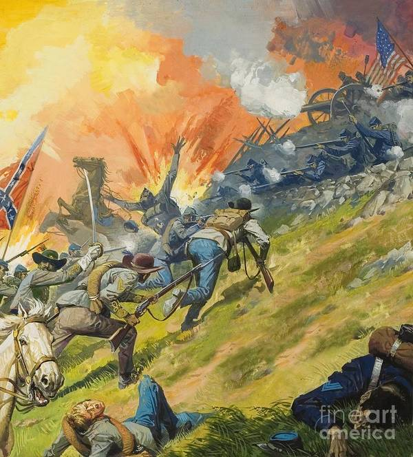 Battle Of Gettysburg Art Print featuring the painting The Battle Of Gettysburg by Severino Baraldi