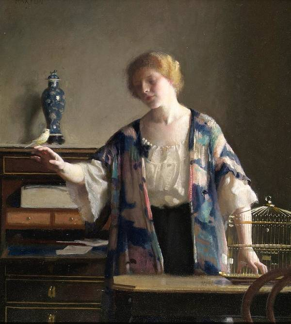 Female Print featuring the painting The Canary by William McGregor Paxton