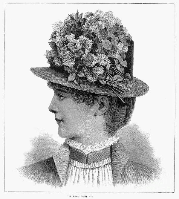 1883 Art Print featuring the photograph Womans Hat, 1883 by Granger