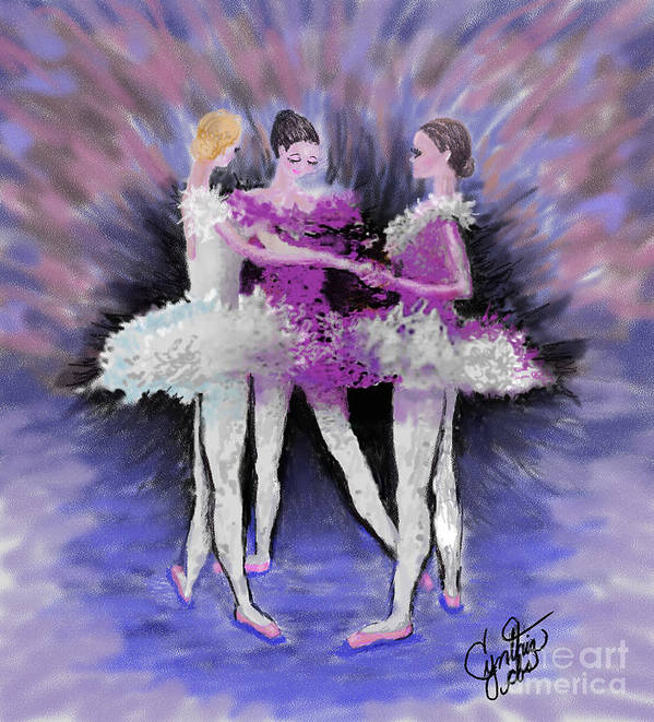 Ballet Dancer Art Print featuring the digital art Dancing In A Circle by Cynthia Sorensen