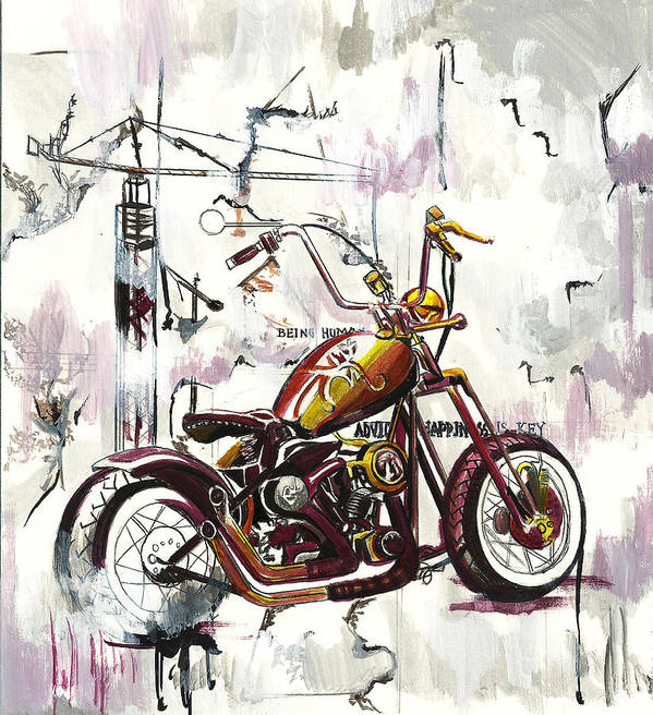 Motorcycle Art Print featuring the painting Mapped Motorcycle by Lauren Penha