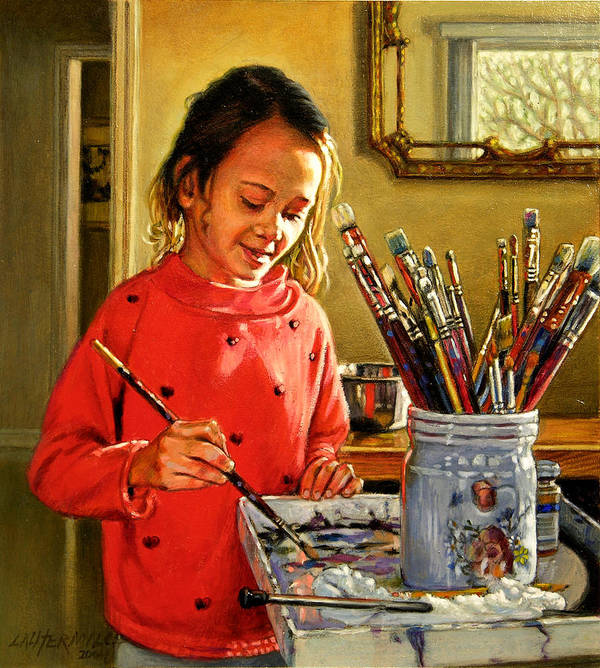 Young Girl Painting Art Print featuring the painting Young Artist by John Lautermilch