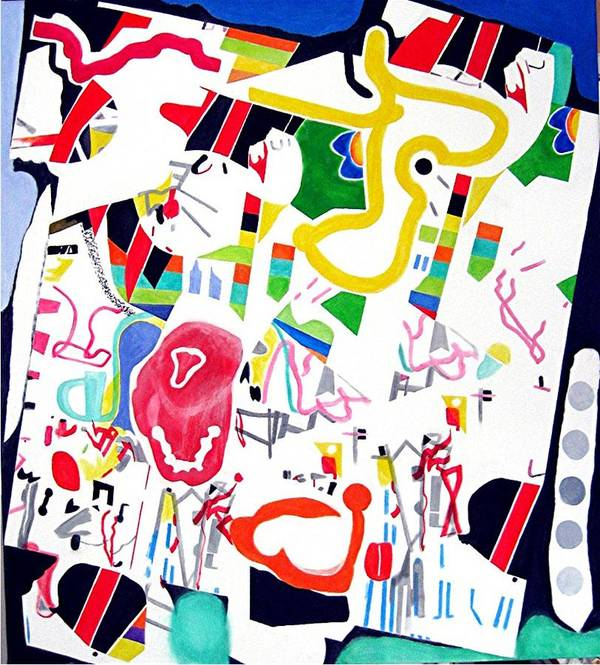 Fun Abstract Art Print featuring the painting Amusement Park by Barron Holland