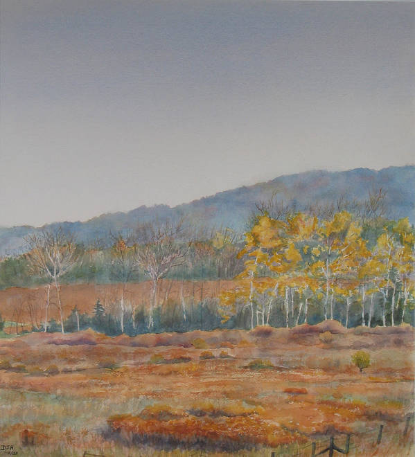 Autumn Art Print featuring the painting Autumn Poplars by Debbie Homewood