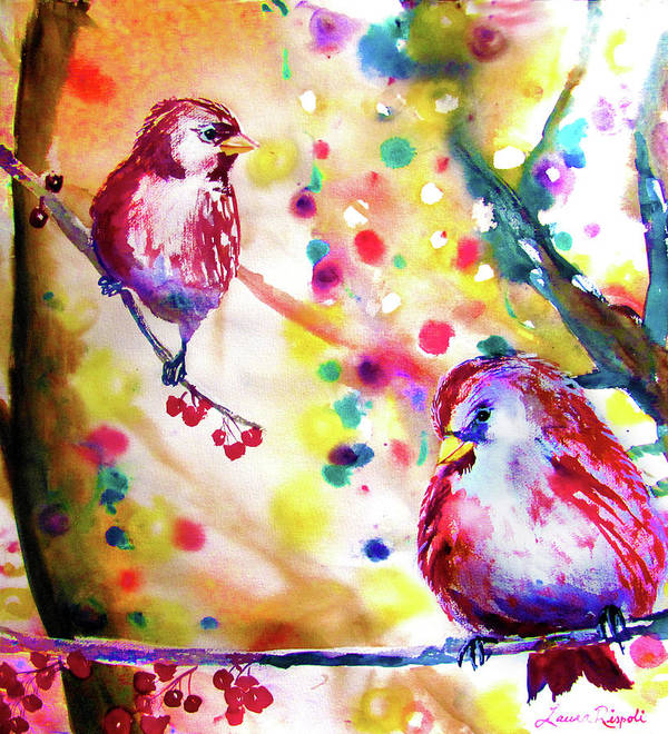 Birds Print featuring the painting Christmas Lights Through The Trees by Laura Rispoli