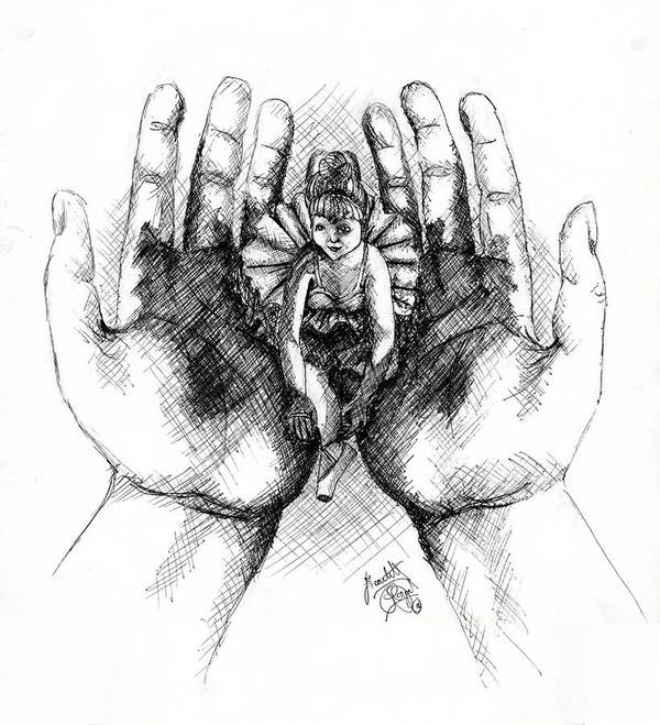 Hands Art Print featuring the drawing Doll Of Memories Past by Scarlett Royal