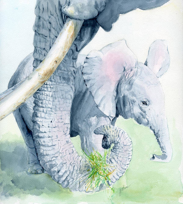 Elephant Art Print featuring the painting Echo And Espirit by Galen Hazelhofer