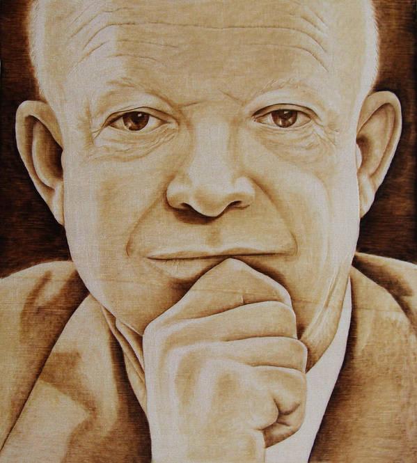 Pyrography; Portrait;; President; Sepia; Human; Eyes; Ears; Eisenhower; Woodburning; Jo Schwartz Art Print featuring the pyrography Eisenhower - The Man by Jo Schwartz