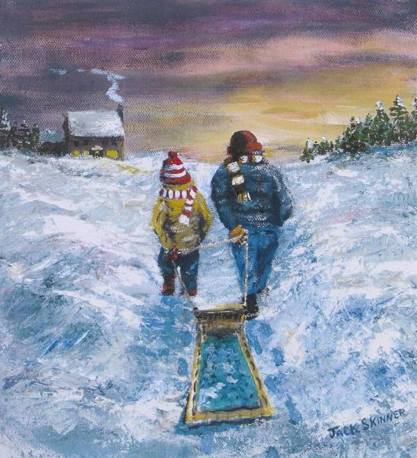 Snow Print featuring the painting End Of The Day by Jack Skinner