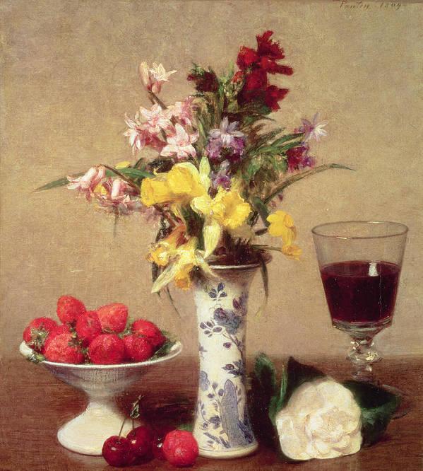 Engagement Bouquet Art Print featuring the painting Engagement Bouquet by Ignace Henri Jean Fantin-Latour