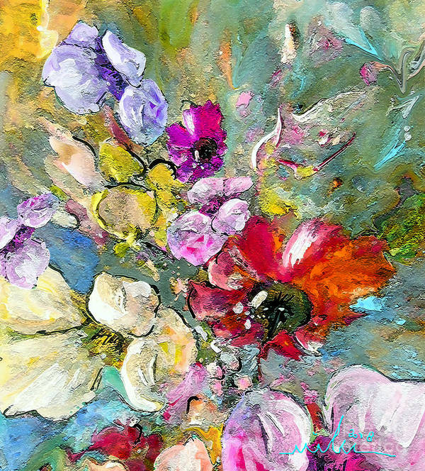 Nature Painting Art Print featuring the painting First Flowers by Miki De Goodaboom