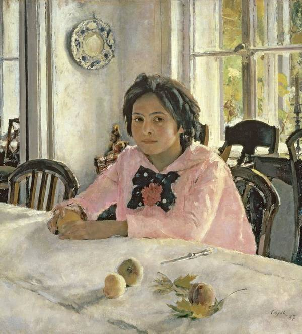 Girl Art Print featuring the painting Girl With Peaches by Valentin Aleksandrovich Serov