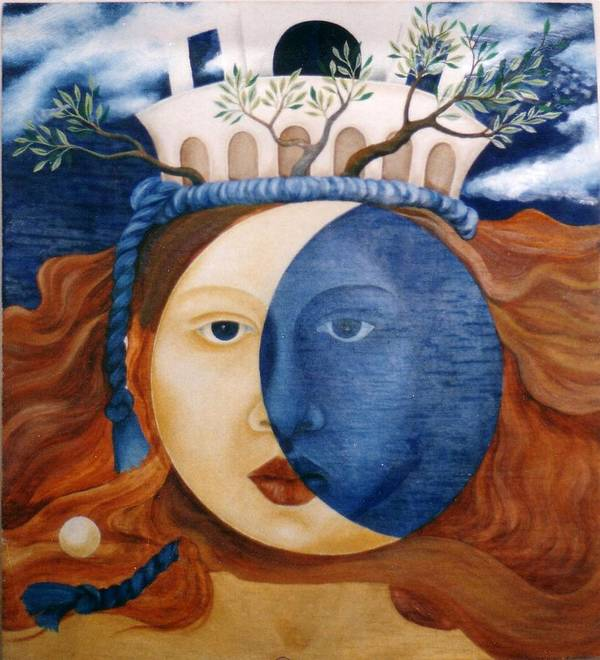 Faces Art Print featuring the painting Moon Face by Amrei Al-Tobaishi-Jarosch