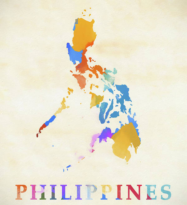 Philippines watercolor map art print by dan sproul philippines watercolor map art print featuring the painting philippines watercolor map by dan sproul publicscrutiny Images