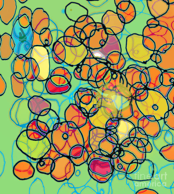 Cell Art Print featuring the digital art Random Cells 5 by Andy Mercer