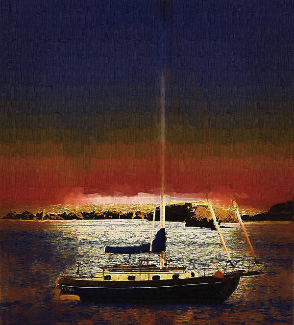 Sailboat Art Print featuring the photograph Sailing Into Twilight by Lynn Andrews
