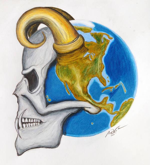 Art Print featuring the drawing Satan's-cerebellum by Sean Walburn