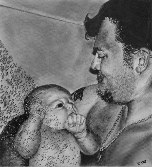 Figure Art Print featuring the drawing Showered In Daddy's Love by Darcie Duranceau