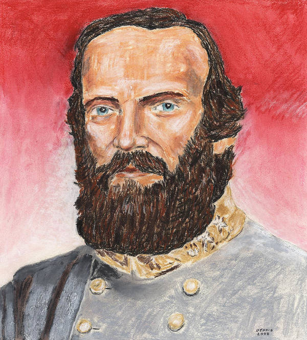 Military Art Print featuring the pastel Stonewall Jackson by Dennis Larson