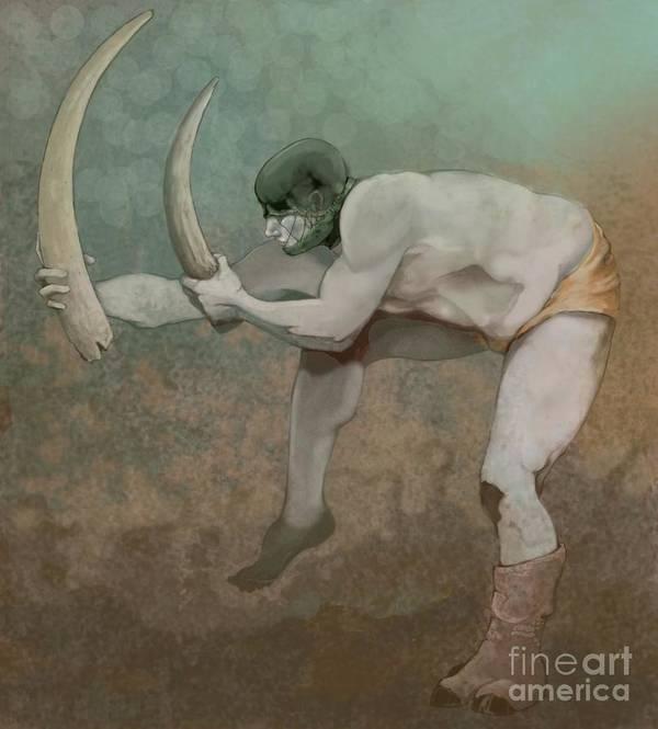 Figure Art Print featuring the digital art The Rhino by Scott Kirschner
