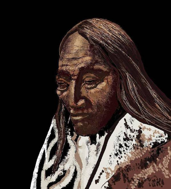 Native American Indian Art Print featuring the digital art Two Strike Sioux by Carole Boyd
