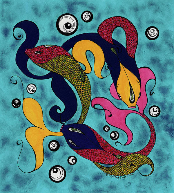 Fish Art Print featuring the drawing Water Dance by Michele Sleight
