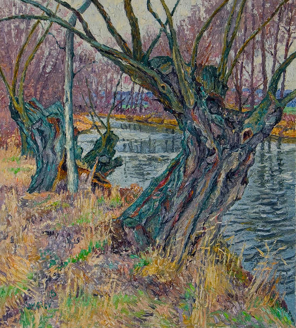 Willow Art Print featuring the painting Weeping Willows by Vitali Komarov
