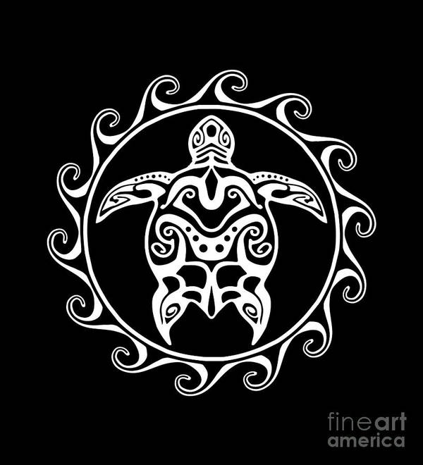 724385605d6fc Samoan Art Print featuring the digital art White Tribal Turtle by Chris  MacDonald