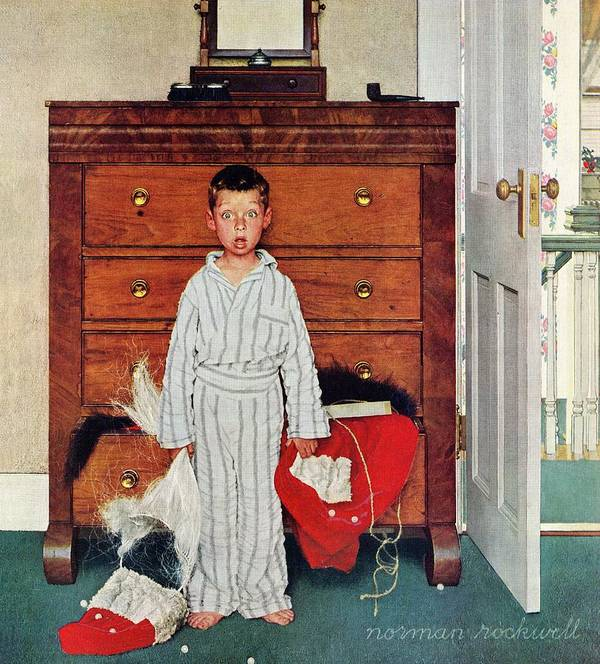 Bedrooms Art Print featuring the drawing Discovery by Norman Rockwell