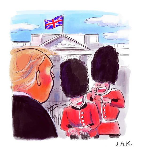 Captionless Art Print featuring the painting Presidential Visit To The Uk by Jason Adam Katzenstein