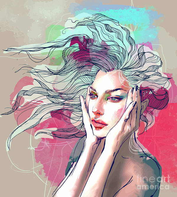 Beauty Art Print featuring the digital art Watercolor Fashion Illustration With A by Alisa Franz