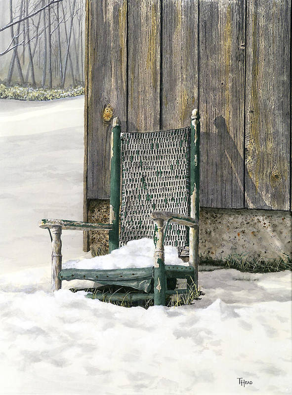 Chair Art Print featuring the painting Better Days - Winter by Ted Head