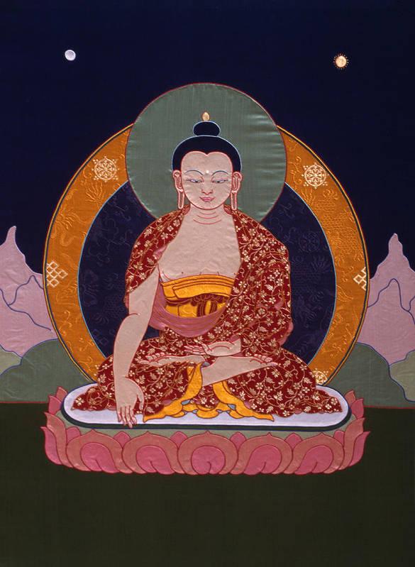 Buddha Print featuring the tapestry - textile Buddha Shakyamuni by Leslie Rinchen-Wongmo