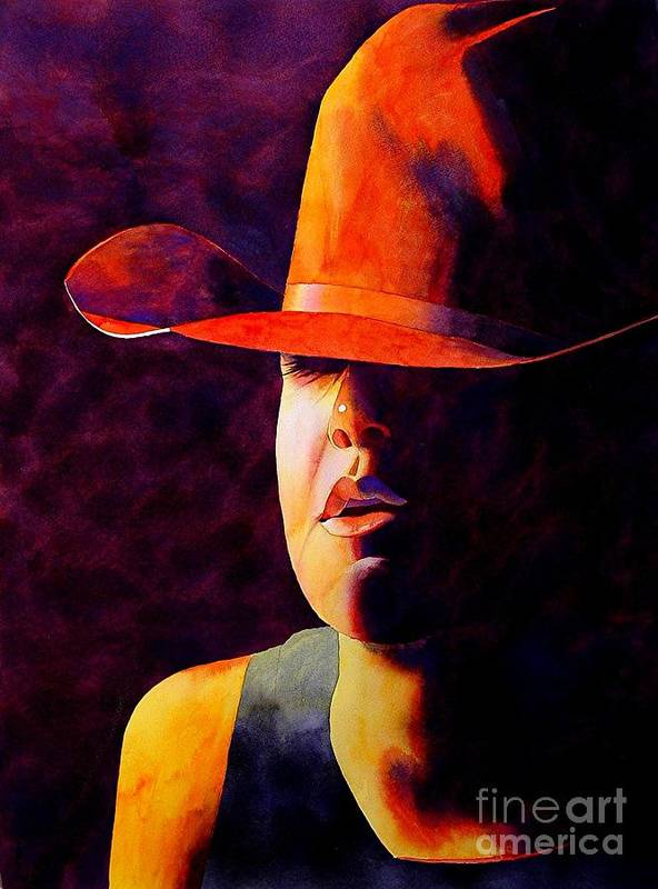 Watercolor Art Print featuring the painting Cowgirl by Robert Hooper