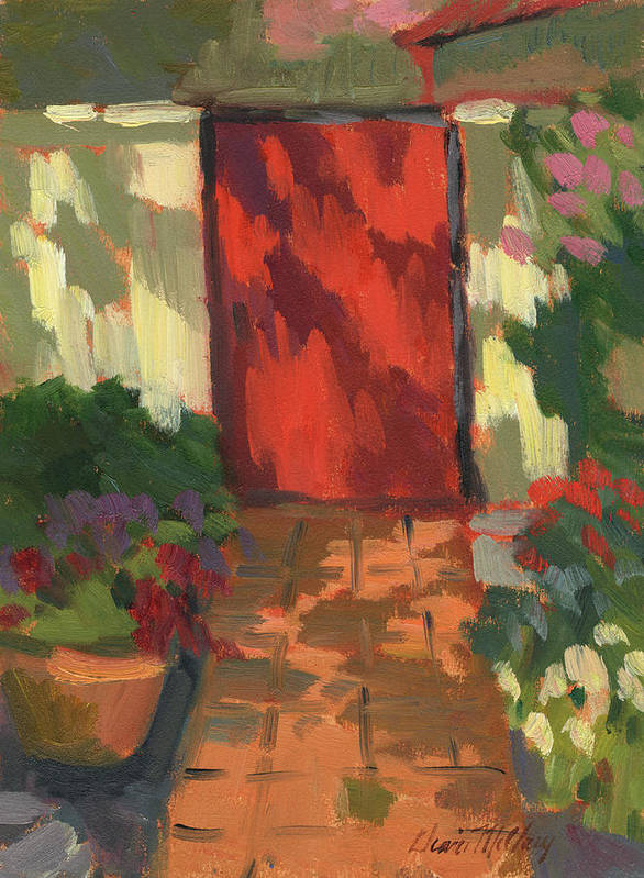 Red Door Art Print featuring the painting Red Door - Shadow And Light by Diane McClary