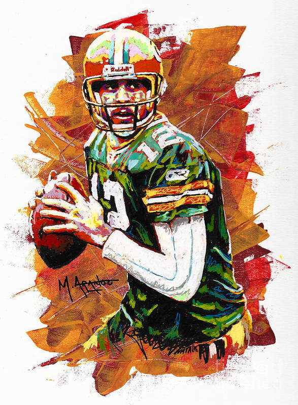 Aaron Art Print featuring the painting Aaron Rodgers by Maria Arango