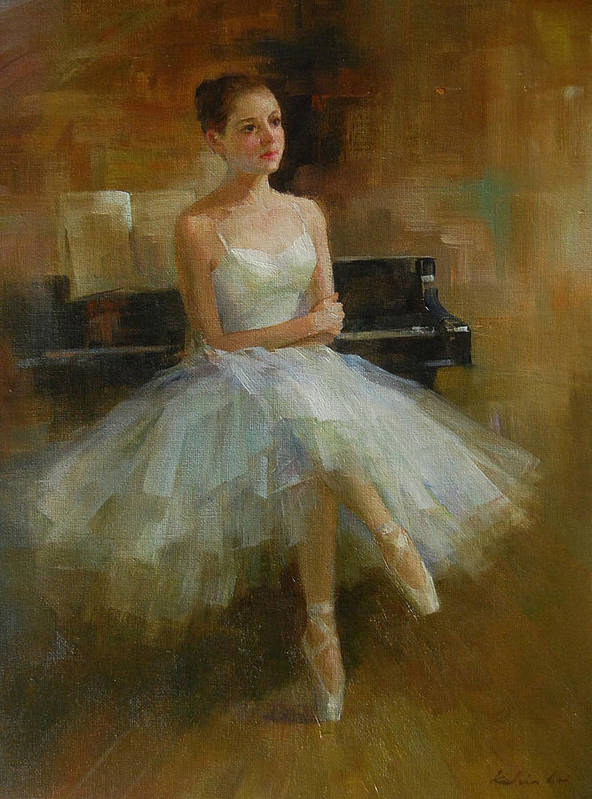 Figurative Painting Art Print featuring the painting Girl And Piano by Kelvin Lei