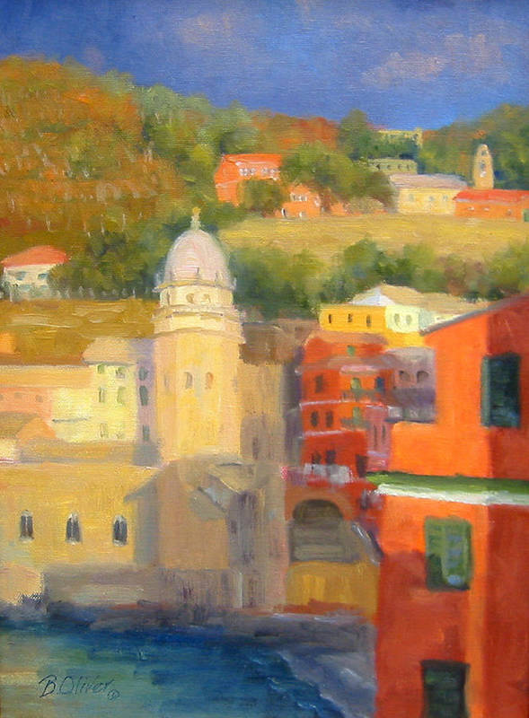Vernazza Art Print featuring the painting Last Light - Vernazza by Bunny Oliver