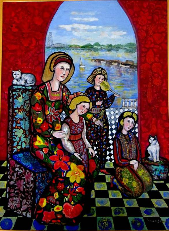 Medieval Art Print featuring the painting Liz Combing Madeline In Portsmouth by Marilene Sawaf