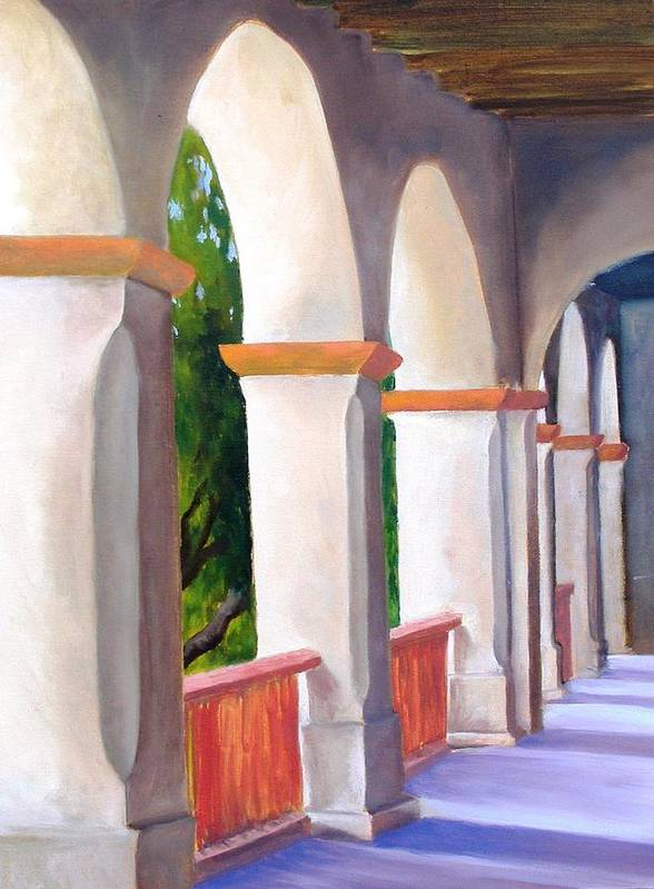 Santa Barbara Mission Art Print featuring the painting Mission Arches by Dorothy Nalls