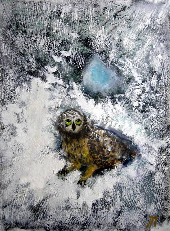 Owl Art Print featuring the painting Owl On Snowy Afternoon by Michela Akers