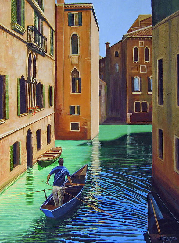 Canal In Venice Art Print featuring the painting Remembering Venice by Hunter Jay