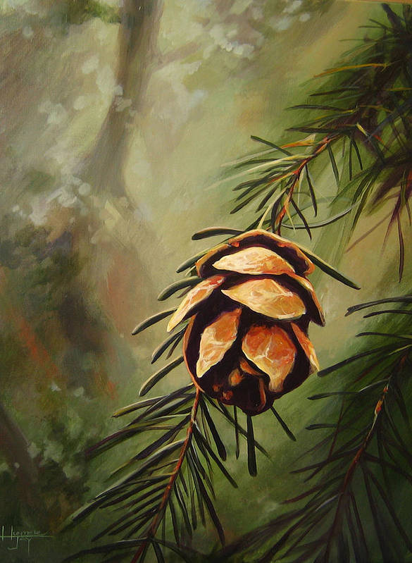 Closeup Of Spruce Cone Art Print featuring the painting Solstice by Hunter Jay